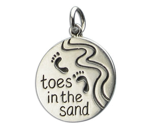 "Sterling Silver Round ""Toes in the Sand"" Footprints Beach Charm Pendant"