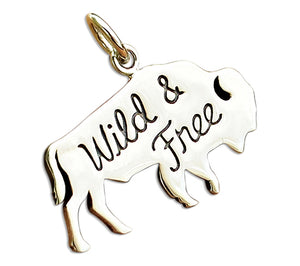 "Sterling Silver ""Wild and Free"" Roaming Buffalo Bison Charm Pendant"