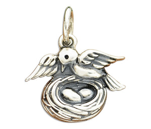 Sterling Silver Other Bird with Nest and Eggs Charm Pendant