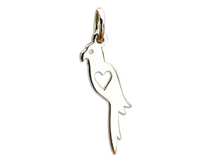 Sterling Silver Parrot with Cut Out Heart Silhouette Charm Pendant