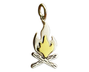Sterling Silver Campfire with Bronze Flames Charm Pendant
