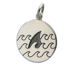 Sterling Silver Shark Fin in Waves Round Charm Pendant
