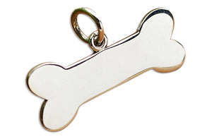 Sterling Silver High Polish Flat Dog Bone Charm Pendant