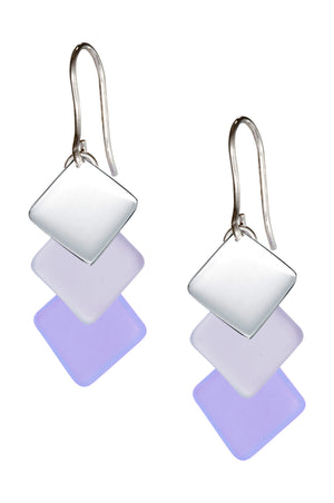 Sterling Silver Swept Triple Drop Silver & Lilac Purple Sea Glass Dangle Earrings