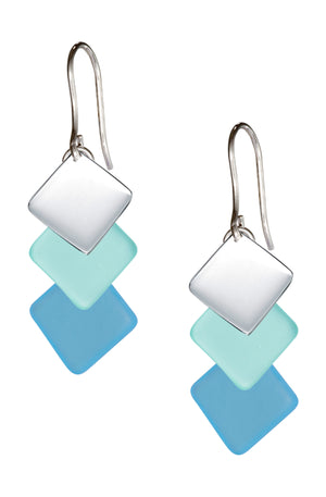 Sterling Silver Swept Triple Drop Silver & Blue Green Sea Glass Dangle Earrings