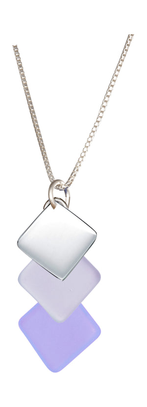 Sterling Silver 18 inch Swept Triple Drop Silver and Lilac Purple Sea Glass Necklace