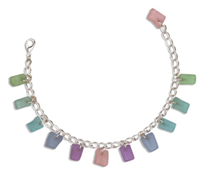Silver Plated 6 to 8 inch Adj Dreamers Dozen Pastel Sea Glass Charm Bracelet