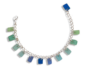 Silver Plated 6 to 8 inch Adj Dreamers Dozen Ocean Sea Glass Charm Bracelet