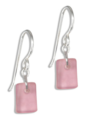 Sterling Silver Whisper Blush Pink Sea Glass Dangle Earrings on French Wire