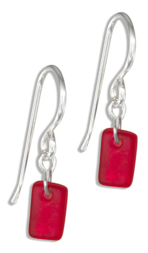 Sterling Silver Whisper Cherry Red Sea Glass Dangle Earrings on French Wire