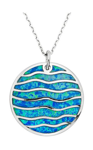 Sterling Silver Round Synthetic Opal Inlay Waves Charm