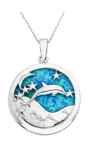 Sterling Silver Round Jumping Dolphin Pendant with Moon Stars & Synthetic Opal Sky
