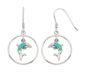 Sterling Silver Circle with Dangling Synthetic Opal Dolphin Earrings