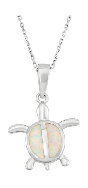 Sterling Silver Turtle Pendant with Synthetic White Opal Inlay