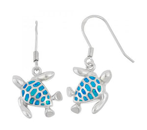 Sterling Silver Turtle Earrings with Synthetic Blue Opal Inlay