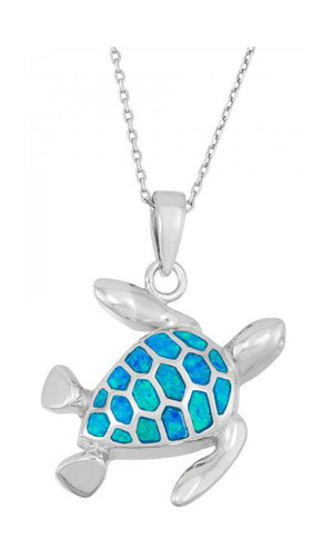 Sterling Silver Turtle Pendant with Synthetic Blue Opal Inlay