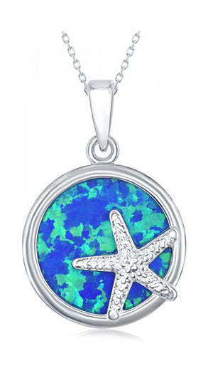 Sterling Silver Round Synthetic Opal Pendant with Starfish