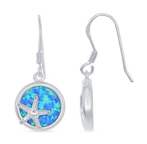Sterling Silver Round Earrings with Starfish and Synthetic Blue Opal