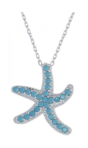 Sterling Silver 16 inch to 18 inch Adjustable Sky Blue Micro Pave Starfish Necklace