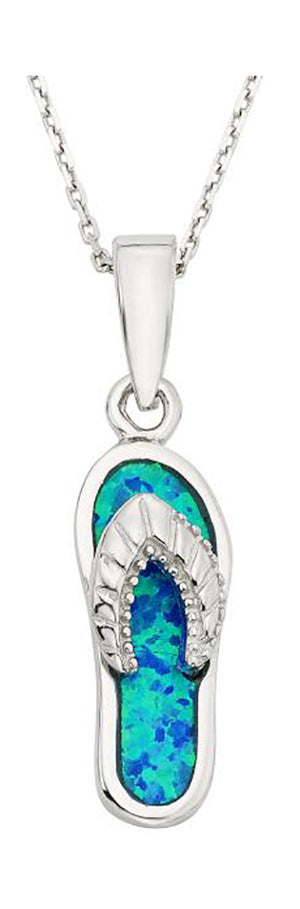 Sterling Silver Synthetic Blue Opal Flip-flop Pendant