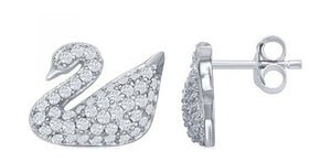 Sterling Silver Micro Pave Cubic Zirconia Swan Post Earrings