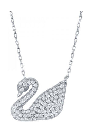 Sterling Silver 16 inch to 18 inch Adjustable Micro Pave Cubic Zirconia Swan Necklace