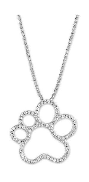 Sterling Silver Micro Pave Open Paw Print Slider Pendant