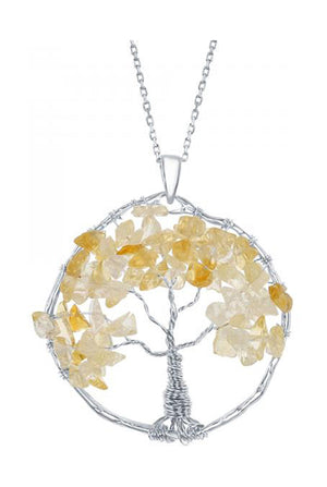Sterling Silver Wire Wrapped Citrine Chip Tree Of Life Pendant