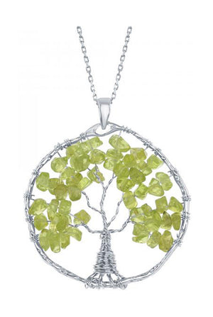 Sterling Silver Wire Wrapped Peridot Chip Tree Of Life Pendant