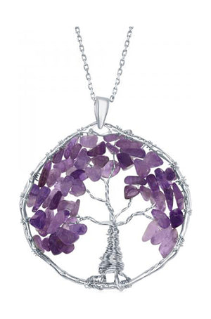 Sterling Silver Wire Wrapped Amethyst Chip Tree Of Life Pendant