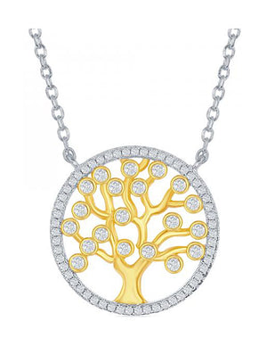 Sterling Silver and Gold Plate 16 inch to 17 inch Adjustable Tree Of Life Necklace with Cubic Zirconias