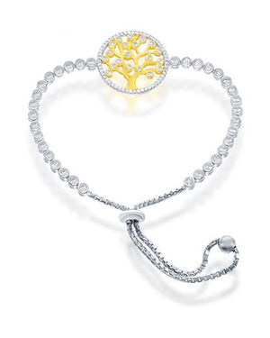 Sterling Silver and Gold Plate 5 inch to 9 inch Adjustable Tree Of Life Bracelet with Cubic Zirconias