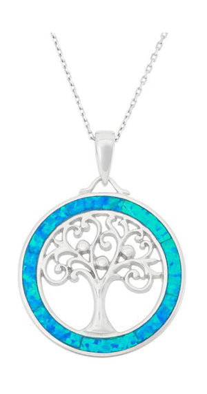 Sterling Silver Round Tree Of Life Pendant with Synthetic Blue Opal Frame