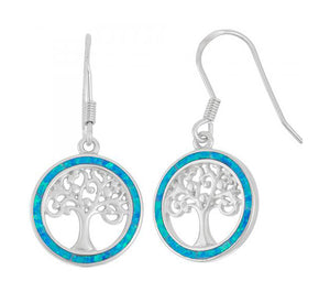 Sterling Silver Round Tree Of Life Earrings with Synthetic Blue Opal Frame