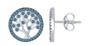 Sterling Silver Round Tree Of Life Earrings with Blue Beads