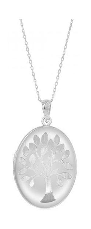 Sterling Silver Etched Tree Of Life Oval Locket Pendant