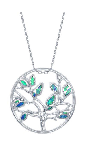 Sterling Silver Round Filigree Tree Pendant with Synthetic Blue Opal Leaves