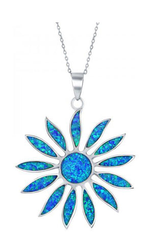 Sterling Silver Synthetic Blue Opal Daisy Pendant
