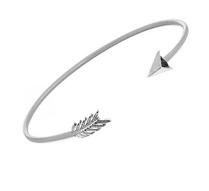 Sterling Silver Wire Cuff Arrow Bracelet with Pave Cubic Zirconias