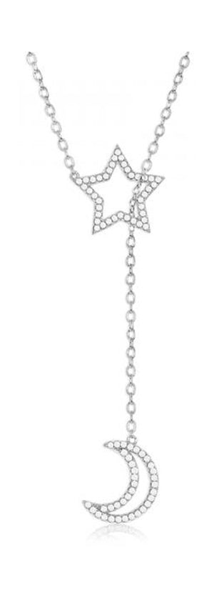 Sterling Silver 16 inch to 18 inch Adjustable Star with Crescent Moon Cubic Zirconia Lariat Bolo Necklace