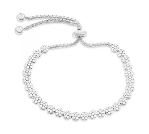 Sterling Silver Adjustable 5 inch to 10 inch Adjustable Pave Cubic Zirconia Flower Bracelet