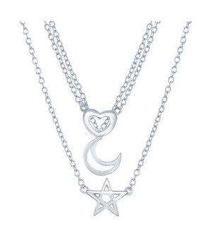 "Sterling Silver 16 to 18 inch "" Adj Graduated Three Strand Heart Moon and Star Necklace"