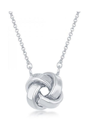 Sterling Silver 16 inch to 18 inch Adjustable Love Knot Necklace