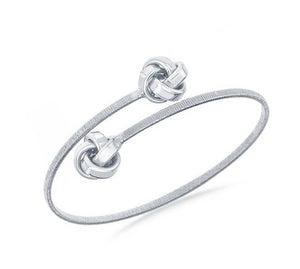 Sterling Silver Double Love Knot Wrap Bangle Bracelet