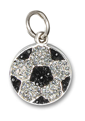 Sterling Silver Black and White Pave Crystal Soccer Ball Pendant
