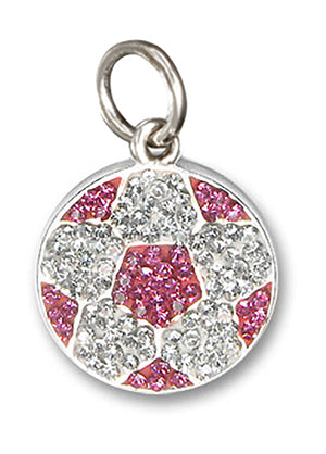 Sterling Silver Pink and White Pave Crystal Soccer Ball Pendant