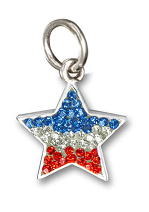 Sterling Silver Red, White and Blue Pave Crystal Star Pendant
