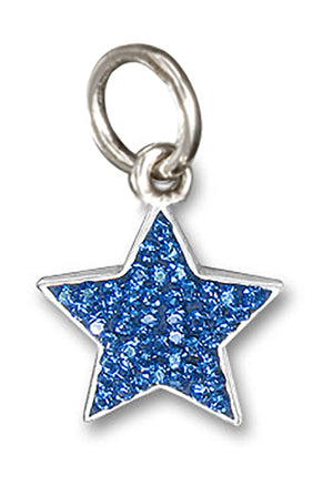 Sterling Silver Patriotic Midnight Cobalt Blue Pave Crystal Star Pendant