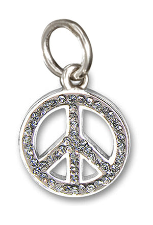 Sterling Silver White Clear Pave Crystal Peace Sign Pendant