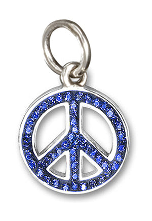Sterling Silver Midnight Cobalt Blue Pave Crystal Peace Sign Pendant
